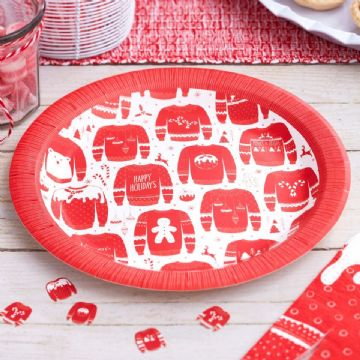 Christmas Jumper Paper Party Plates - pack of 8